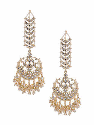 Gold Tone Kundan Earrings With Ear Chains