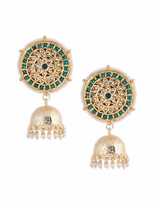 Green Gold Tone Jhumki Earrings With Pearls