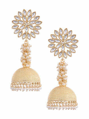 Gold Tone Kundan Jhumki Earrings