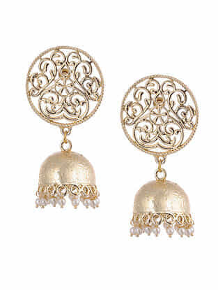Gold Tone Handcrafted Jhumki Earrings With Pearls