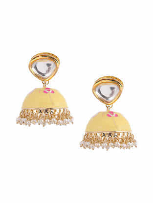 Yellow Pink Gold Tone Kundan Enameled Jhumki Earrings With Pearls