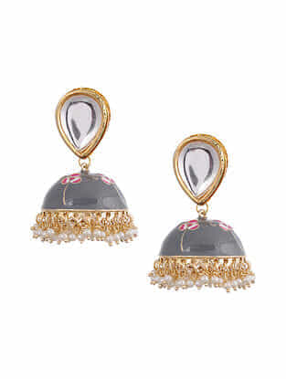 Grey Gold Tone Kundan Enameled Jhumki Earrings With Pearls