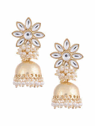 Gold Tone Kundan Inspired Jhumki Earrings With Pearls