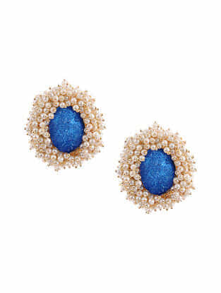 Blue Gold Tone Handcrafted Earrings With Pearls