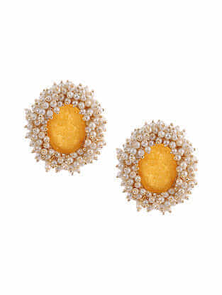 Yellow Gold Tone Handcrafted Earrings With Pearls