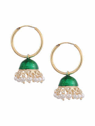 Green Gold Tone Enameled Jhumki Earrings With Pearls