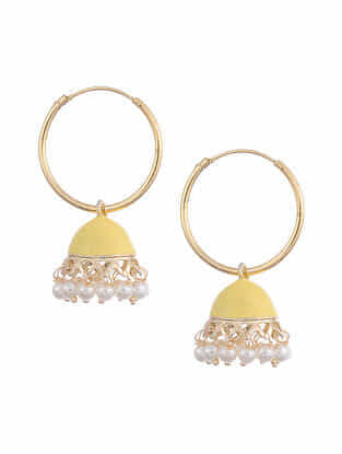 Yellow Gold Tone Enameled Jhumki Earrings With Pearls