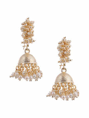 Gold Tone Pearl Beaded Jhumki Earrings