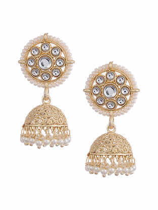 Gold Tone Kundan Beaded Jhumki Earrings