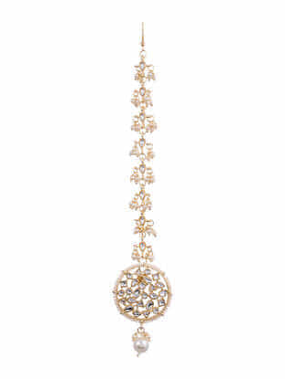 Gold Tone Kundan  Maangtikka With Pearls