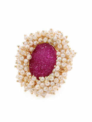 Pink Gold Tone Handcrafted Ring With Pearls