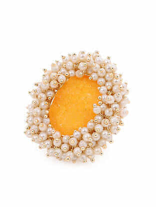 Yellow Gold Handcrafted  Ring With Pearls