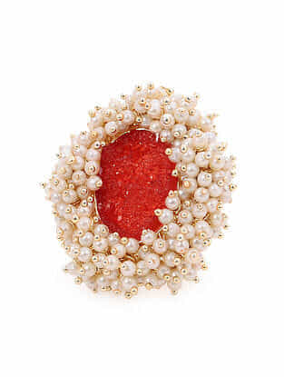 Red Gold Tone Handcrafted Ring With Pearls