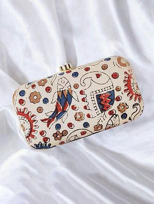 Beige Handcrafted Cotton Clutch