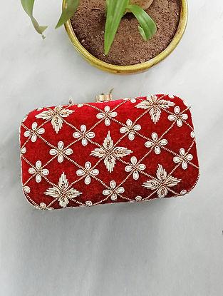 Maroon Handcrafted Velvet Clutch