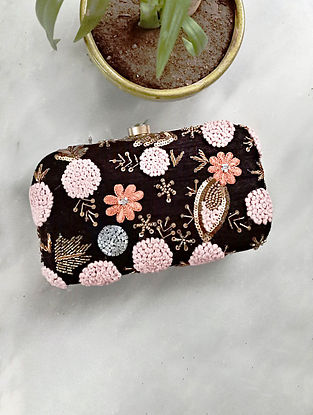 Black Handcrafted Silk Clutch