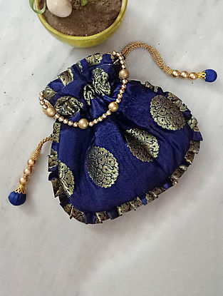 Blue Handcrafted Silk Potli