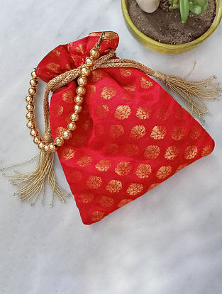 Red Handcrafted Silk Potli
