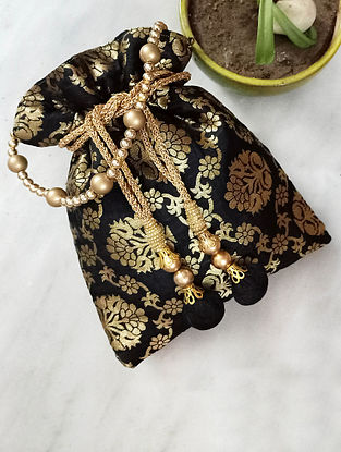 Black Handcrafted Silk Potli