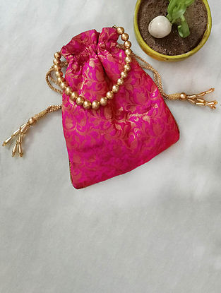 Pink Handcrafted Silk Potli
