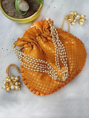 Mustard Handcrafted Silk Potli