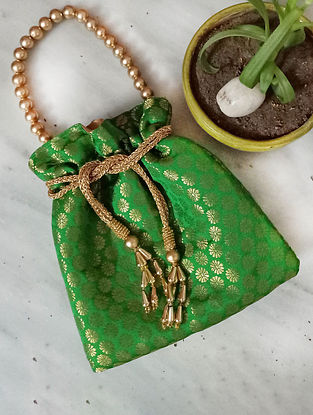 Green Handcrafted Silk Potli