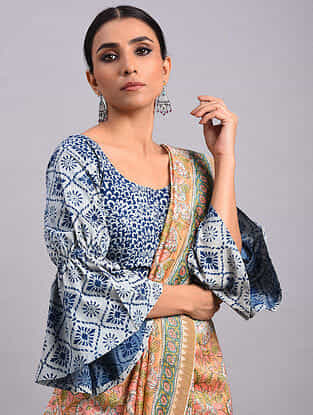 Indigo Dabu Cotton Blouse With Flared Sleeves