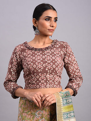 Rust Dabu Cotton Blouse With Ruffle