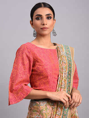 Pink Chanderi Printed Blouse With Flared Sleeves