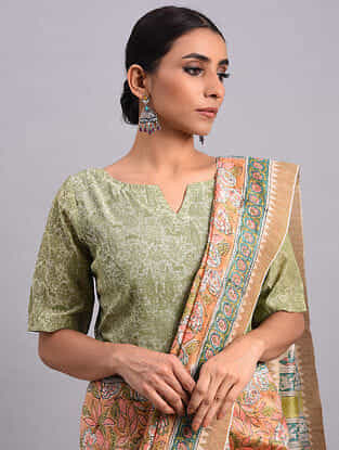 Green Chanderi Printed Blouse With Zari