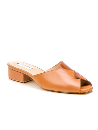 Tan Genuine Leather Block Heels