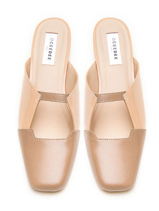 Pink Nude Genuine Leather Block Heels