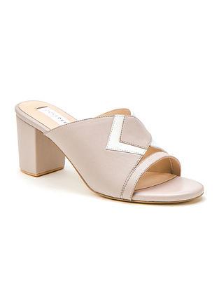 White Grey Genuine Leather Block Heels