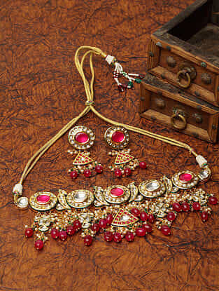 Red Gold Plated Kundan Necklace With Earrings