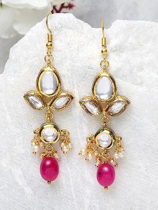 Pink Gold Plated Kundan Earrings