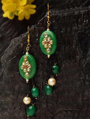 Green Gold Plated Kundan Earrings