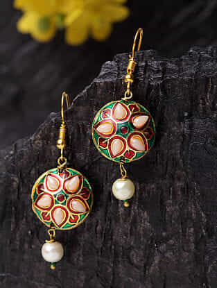 Green Red Gold Plated Enameled Earrings With Pearls