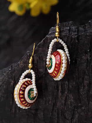 Red Gold Plated Enameled Beaded Earrings