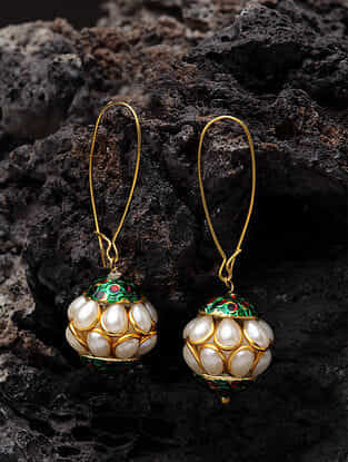 Gold Plated Pearl Handcrafted Earrings