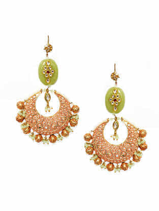 Peach Green Gold Plated Enameled Earrings