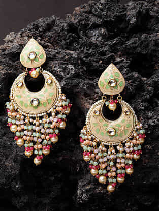 Multicolored Gold Plated Enameled Earrings With Pearls
