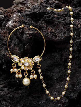 Gold Plated Pearl Beaded Nath