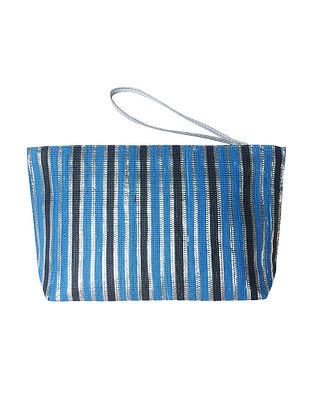 Blue Black Handcrafted Recycled Polyester Pouch