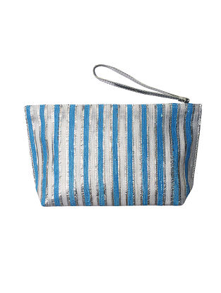 Blue Silver Handcrafted Recycled Polyester Pouch