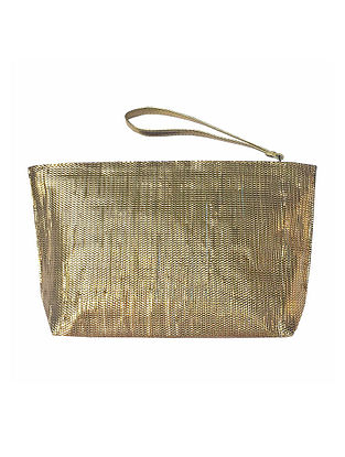 Gold Handcrafted Recycled Polyester Pouch