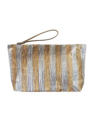Gold Silver Handcrafted Recycled Polyester Pouch