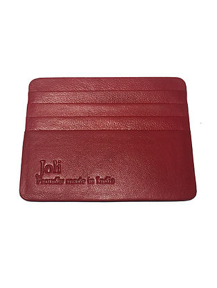 Red Handcrafted Leather Card Holder