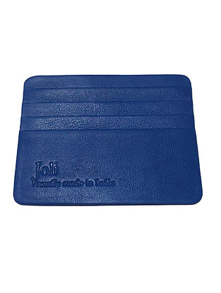 Blue Handcrafted Leather Card Holder