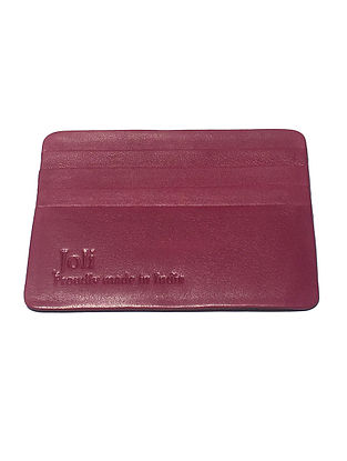 Pink Handcrafted Leather Card Holder