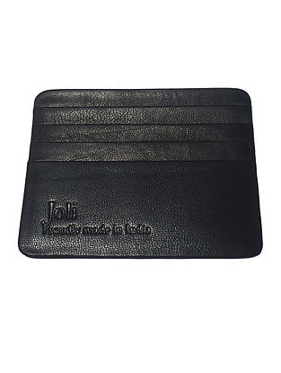 Black Handcrafted Leather Card Holder